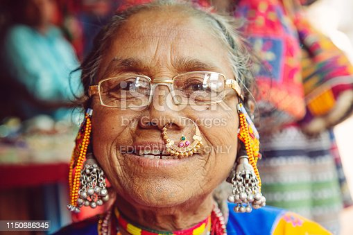 Arambol in Goa, India, February 1st, 2019: Indian woman portrait with traditional jewelry