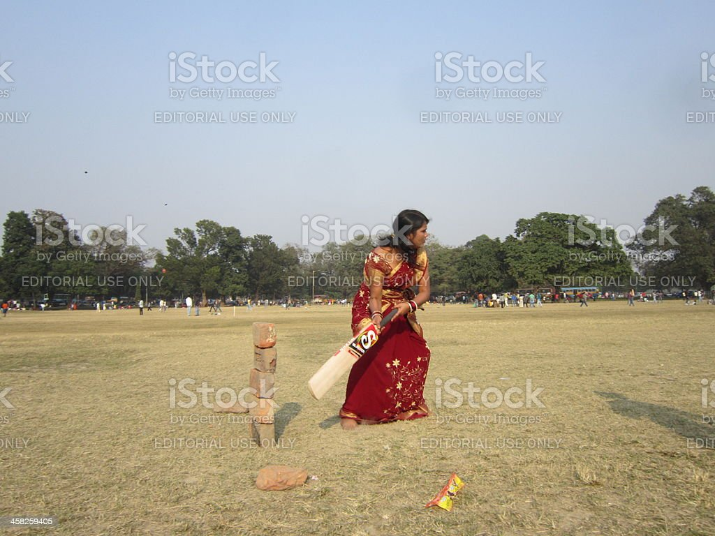 Indian Woman Wearing Saree Playing Cricket Stock Photo & More ...