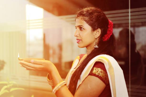 Indian Woman With Diya stock photo