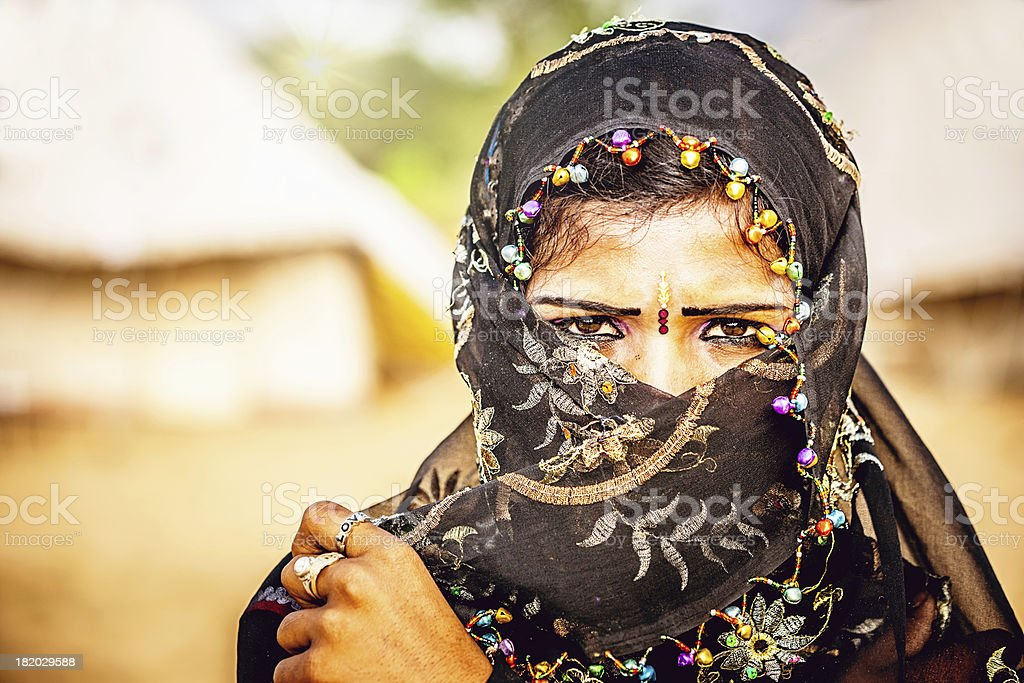 Indian Woman with Headscarf Portrait royalty-free stock photo