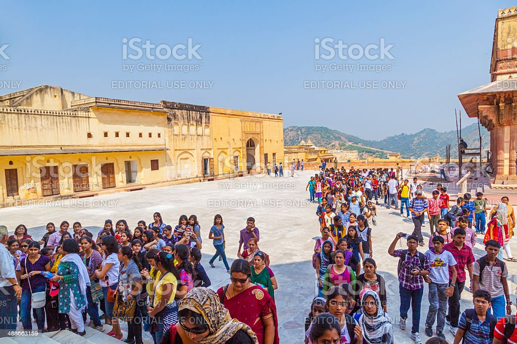 indian women queue up for entrance to the yearly prozession stock photo