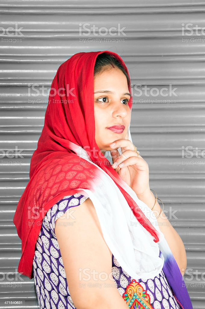 Indian women thinking something royalty-free stock photo