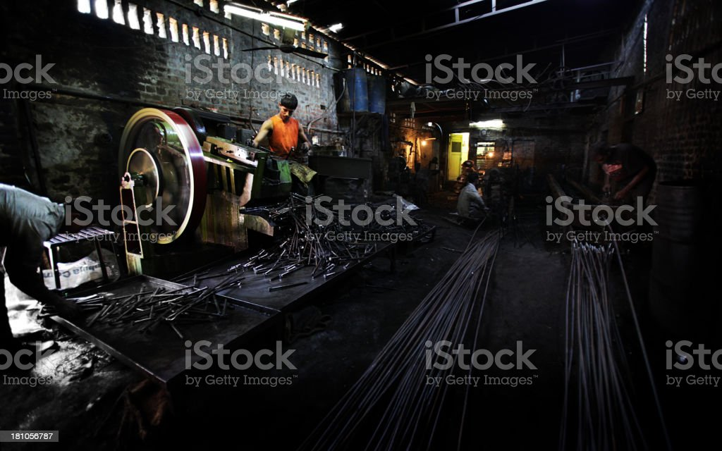 Indian workers: steel works stock photo