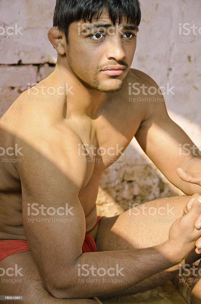 Indian wrestler stock photo
