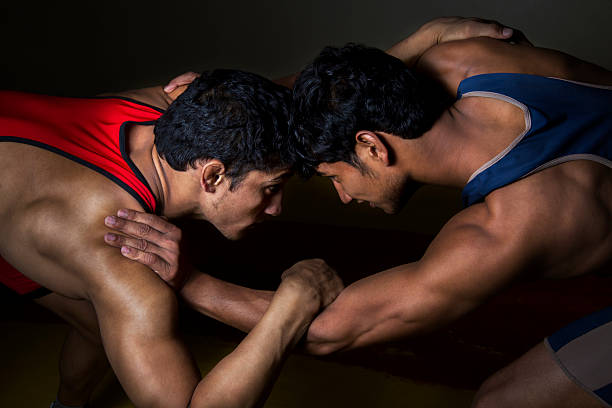 indian wrestlers - wrestling stock photos and pictures
