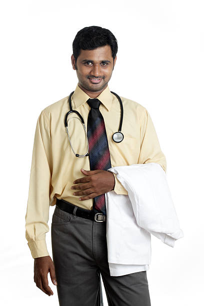Indian young male medical worker stock photo