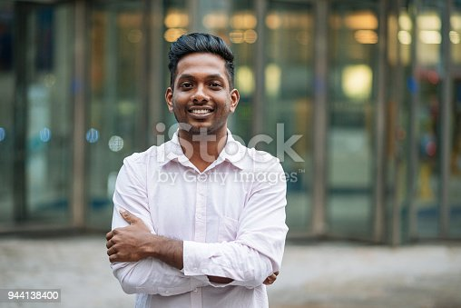 istock Indian young man in London, expressing positive emotion 944138400