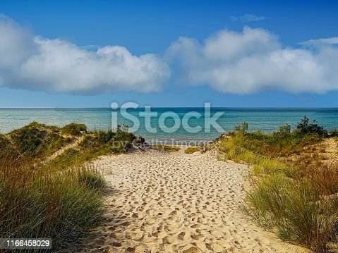 View of Lake Michigan from the beach at Indiana Dunes State Park, Indiana, USA