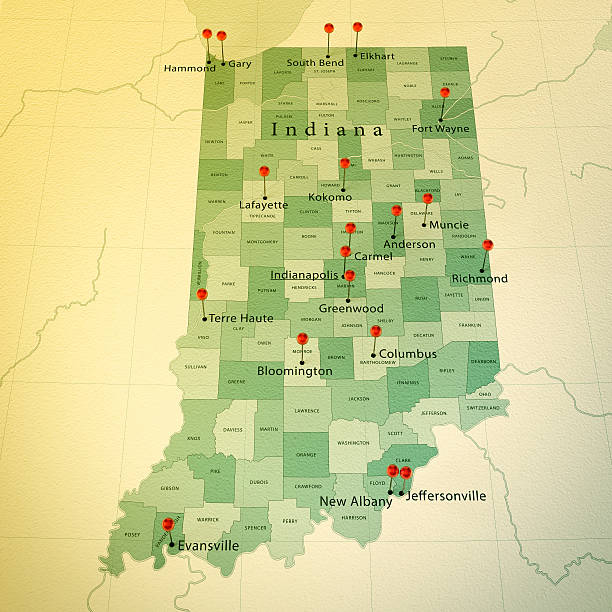 Indiana Map Pictures Images And Stock Photos IStock - Indiana in usa map