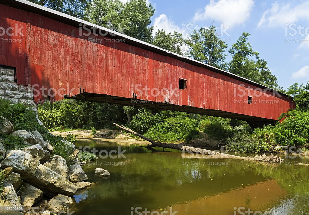 Indiana Red Covered Bridge stock photo