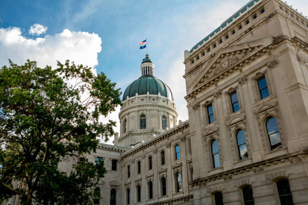Indiana State Capitol Building on a Beautiful Day A view of the Indiana State Capitol Building in Indianapolis (stock photo) state capitol building stock pictures, royalty-free photos & images