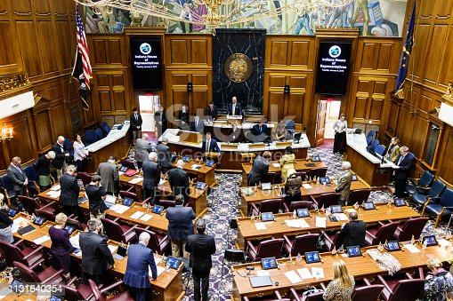 Indianapolis - Circa January 2019: Indiana State House of Representatives in session giving the Pledge of Allegiance II