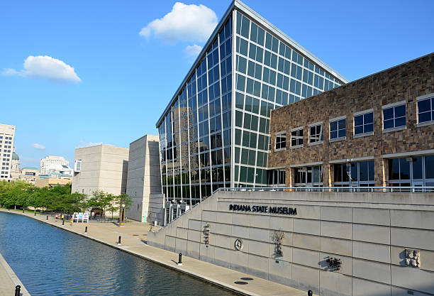 Indiana State Museum from Canal Walk stock photo