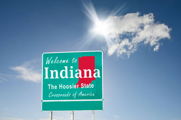 Indiana, Welcome road sign stock photo