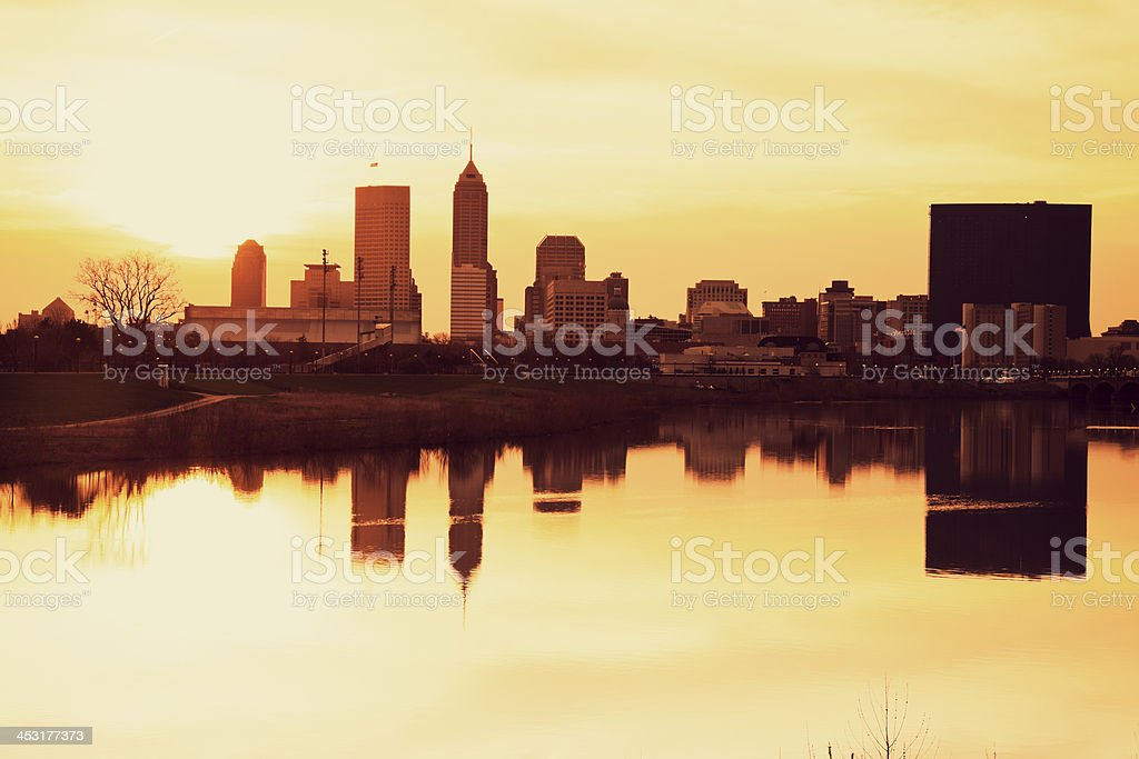 Indianapolis at sunrise stock photo