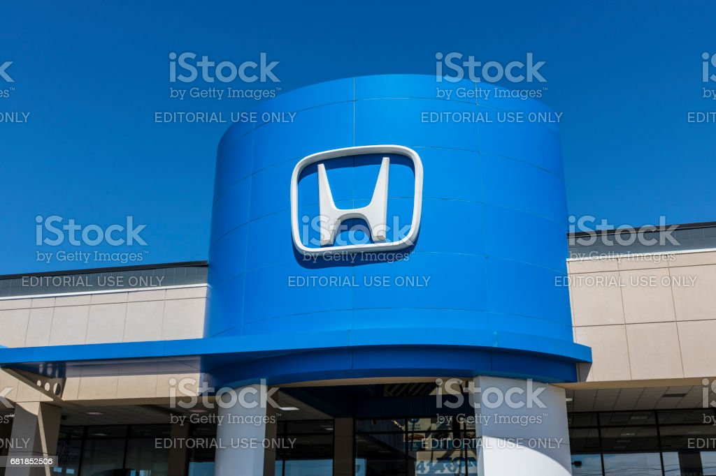 Indianapolis - Circa April 2017: Honda Motor Co. Logo and Sign. Honda Manufactures Among the Most Reliable Cars in the World IV stock photo
