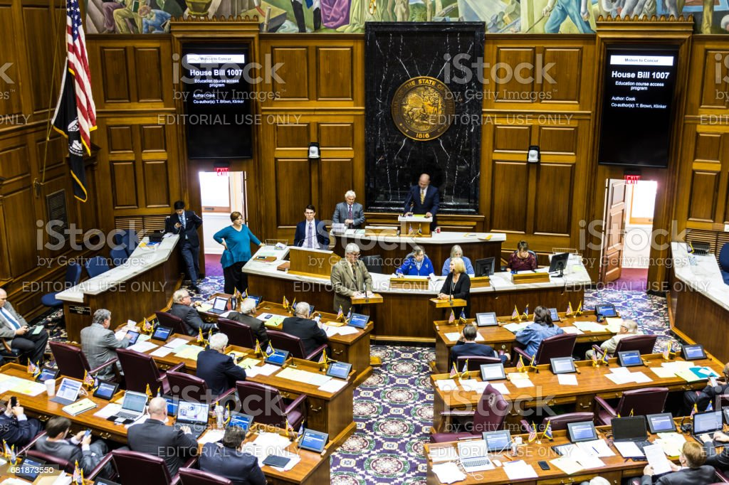 Indianapolis - Circa April 2017: Indiana State House of Representatives in session making arguments for and against a Bill I stock photo