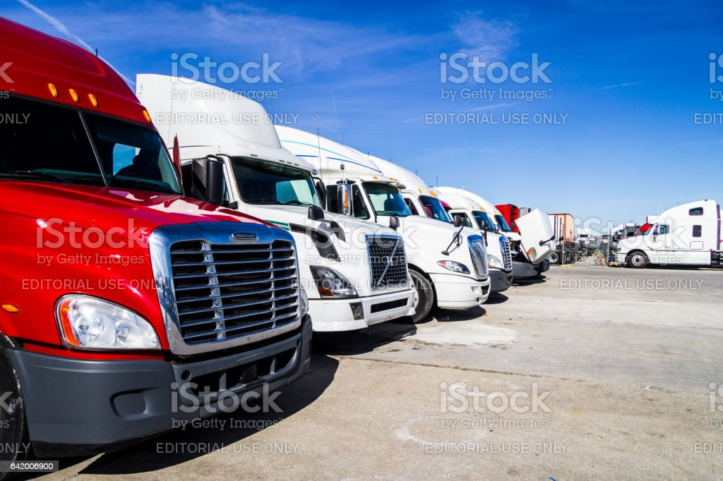 Indianapolis - Circa February 2017: Colorful Semi Tractor Trailer Trucks Lined up for Sale. Big Rig trucks transport goods Americans use every day V stock photo