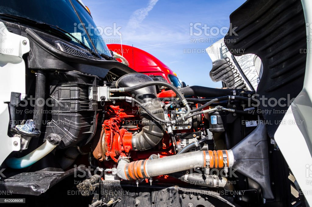 Indianapolis - Circa February 2017: Engine Compartment of a Semi Tractor Trailer Truck. Big Rig trucks transport goods Americans use every day I stock photo
