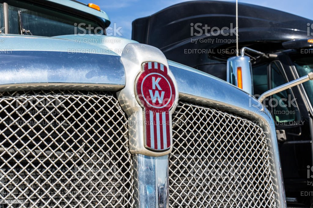 Indianapolis - Circa June 2017: Grille and Logo of a Kenworth Big Rig Semi Tractor Trailer. Kenworth is a division of PACCAR I stock photo