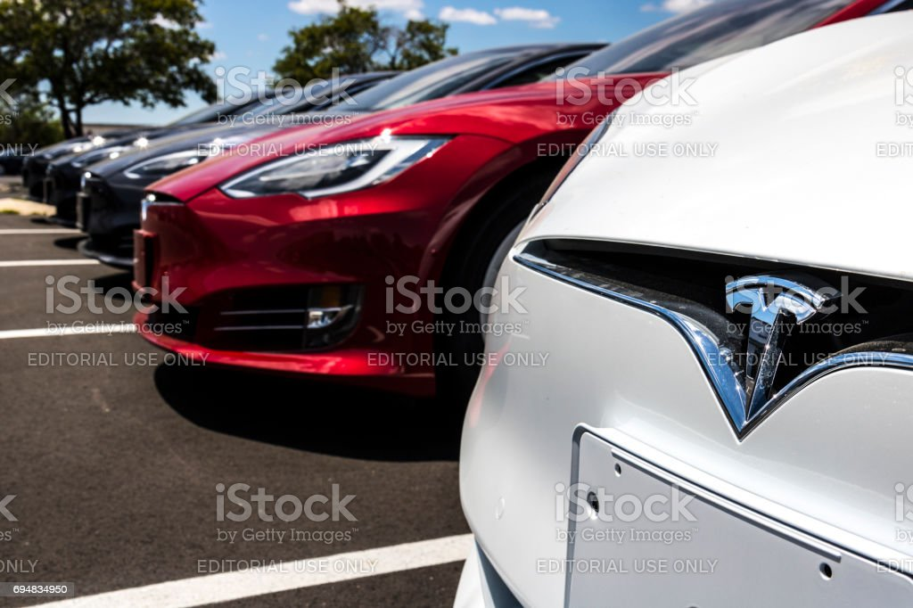 Indianapolis - Circa June 2017: Tesla Motors Local Car Dealership. Tesla designs and manufactures the Model S electric sedan III stock photo