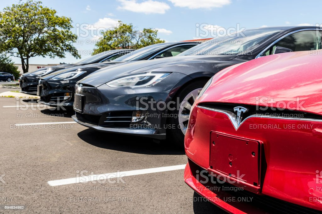 Indianapolis - Circa June 2017: Tesla Motors Local Car Dealership. Tesla designs and manufactures the Model S electric sedan II stock photo