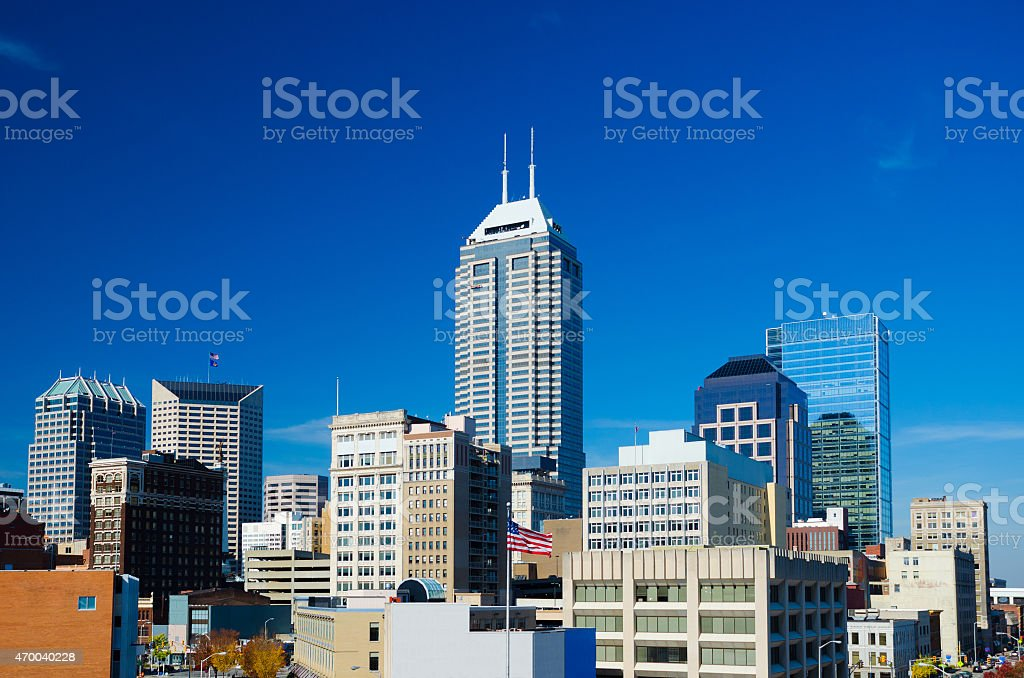 Indianapolis downtown skyline elevated view with blue sky stock photo