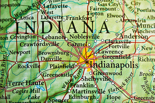 Gas City Indiana Map.Royalty Free Indiana Map Three Dimensional Shape Cartography
