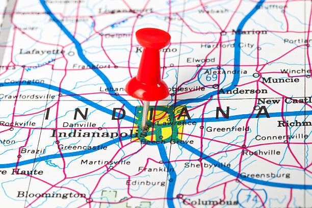 Indiana Map Pictures Images And Stock Photos IStock - Indianapolis indiana usa map