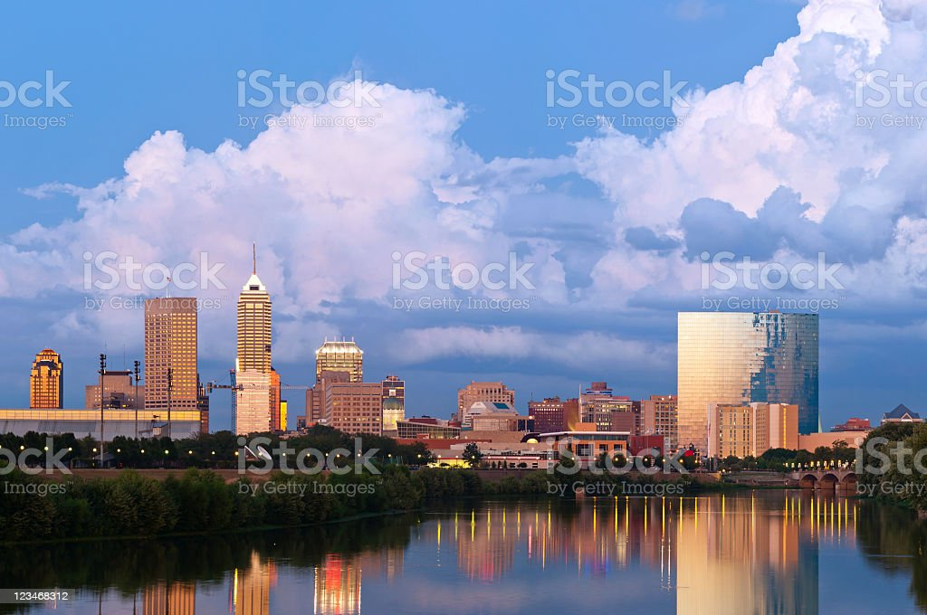 Indianapolis, Indiana skyline at sunset stock photo