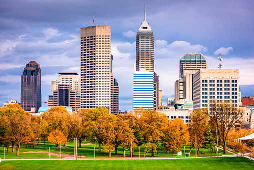 Indianapolis, Indiana, USA city skyline in autumn.