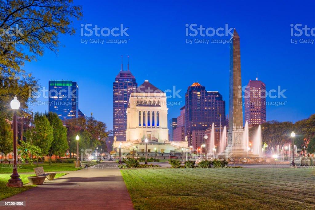 Indianapolis, Indiana, USA War Memorial Skyline stock photo