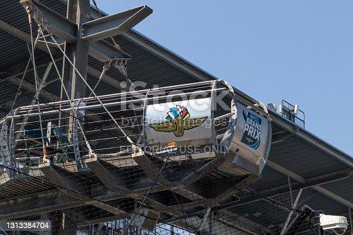 istock Indianapolis Motor Speedway flag stand at the Start-Finish line. IMS is preparing for the Indy 500 and Brickyard 400 in the age of Social Distancing. 1313384704