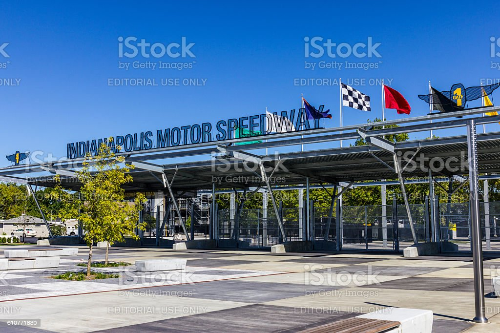 Indianapolis Motor Speedway Gate 1 Entrance VI stock photo