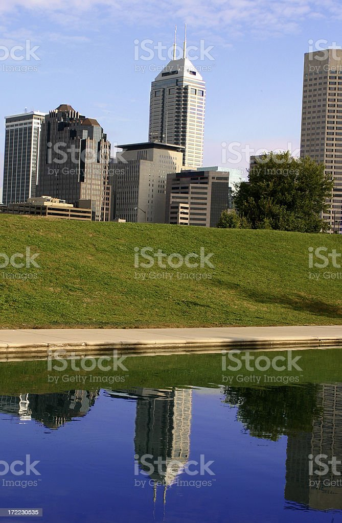 indianapolis reflection in the canal royalty-free stock photo