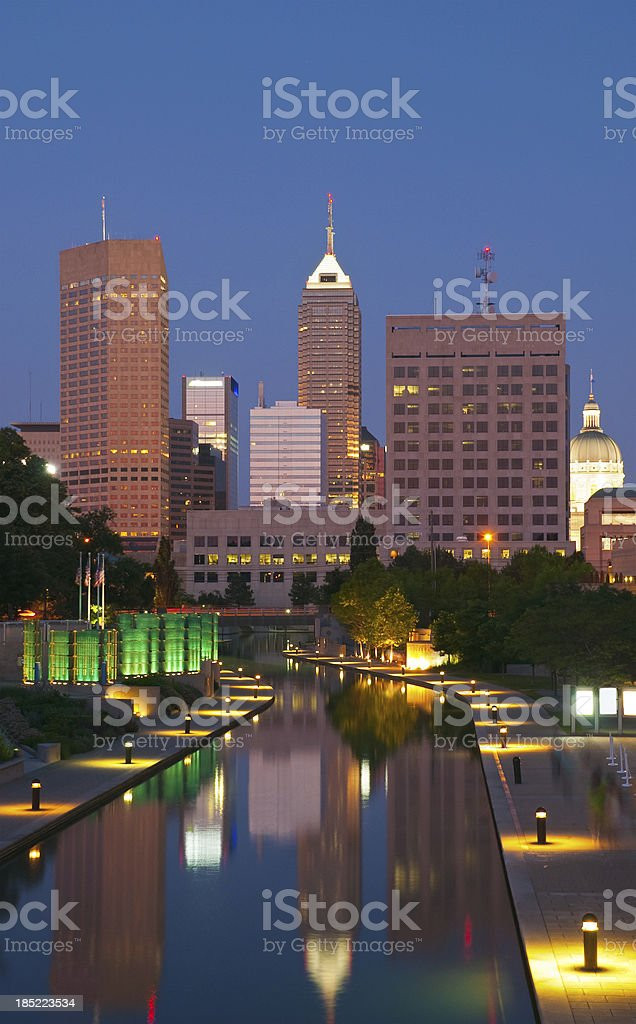 Indianapolis skyline and canal at dusk stock photo