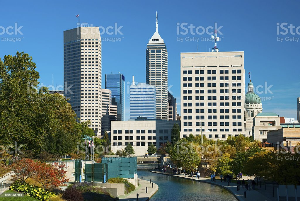 Indianapolis skyline and canal closeup stock photo