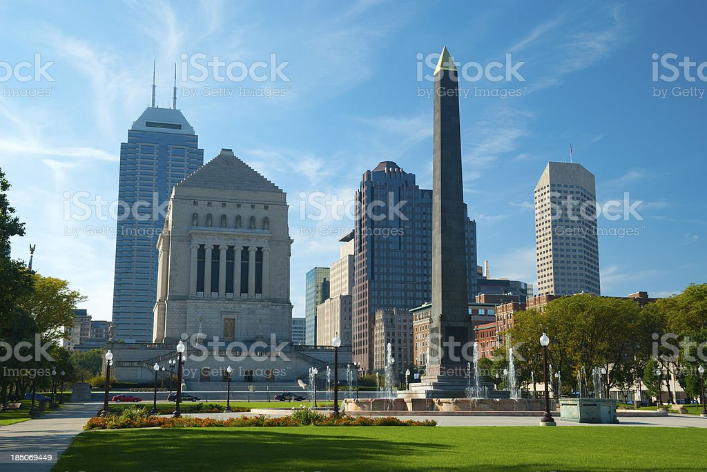 Indianapolis skyline and memorials stock photo