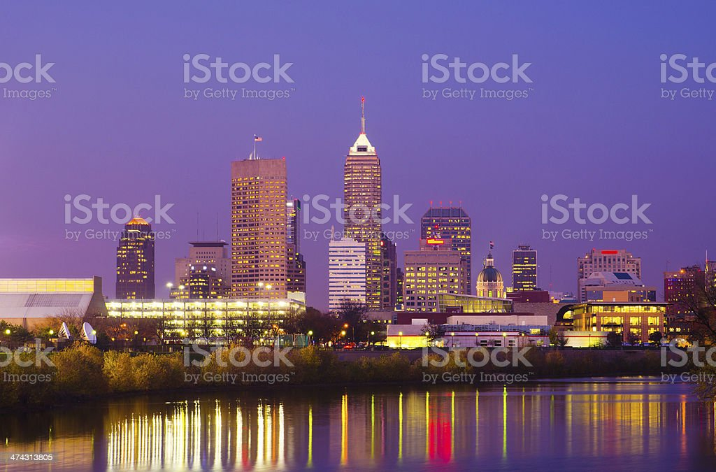 Indianapolis skyline and river at dusk stock photo