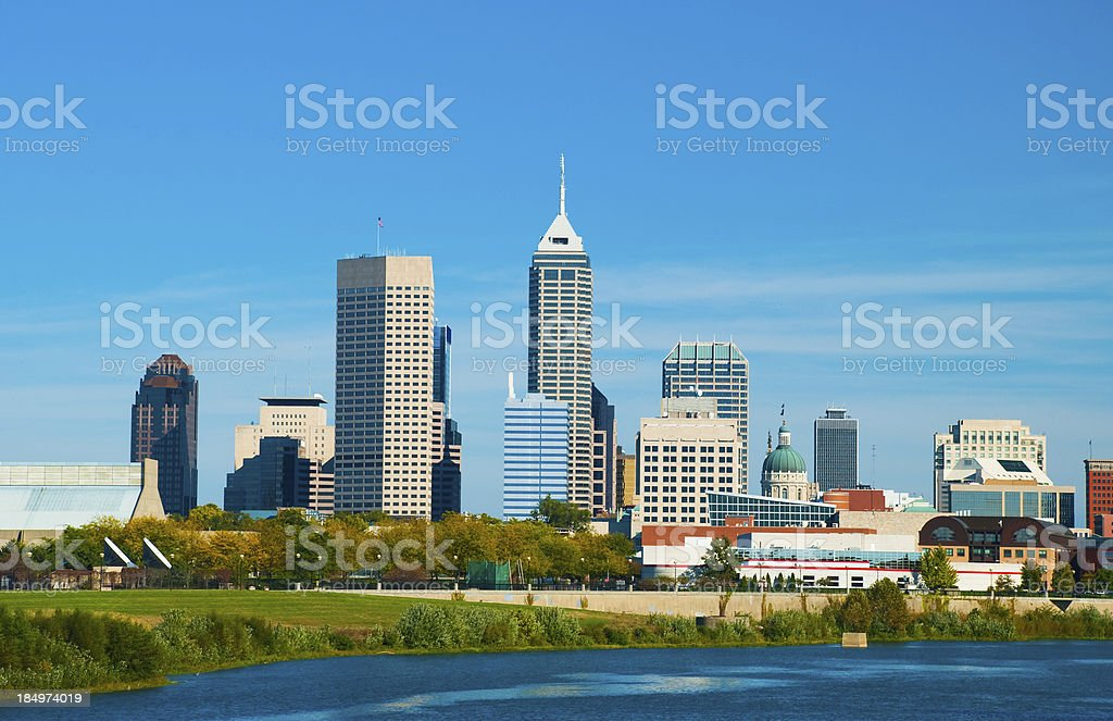 Indianapolis Skyline and River stock photo