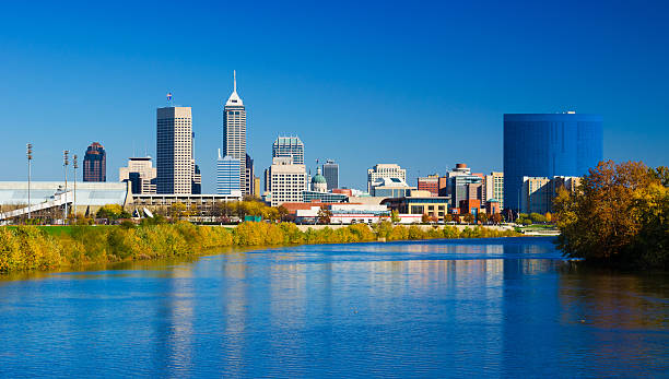 Indianapolis skyline and White River during Autumn stock photo