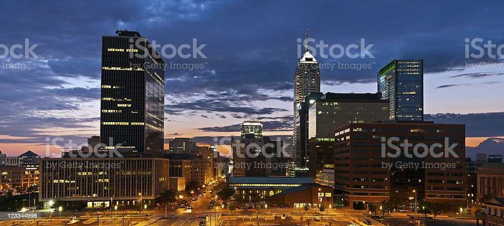 Indianapolis skyline at sunset. stock photo