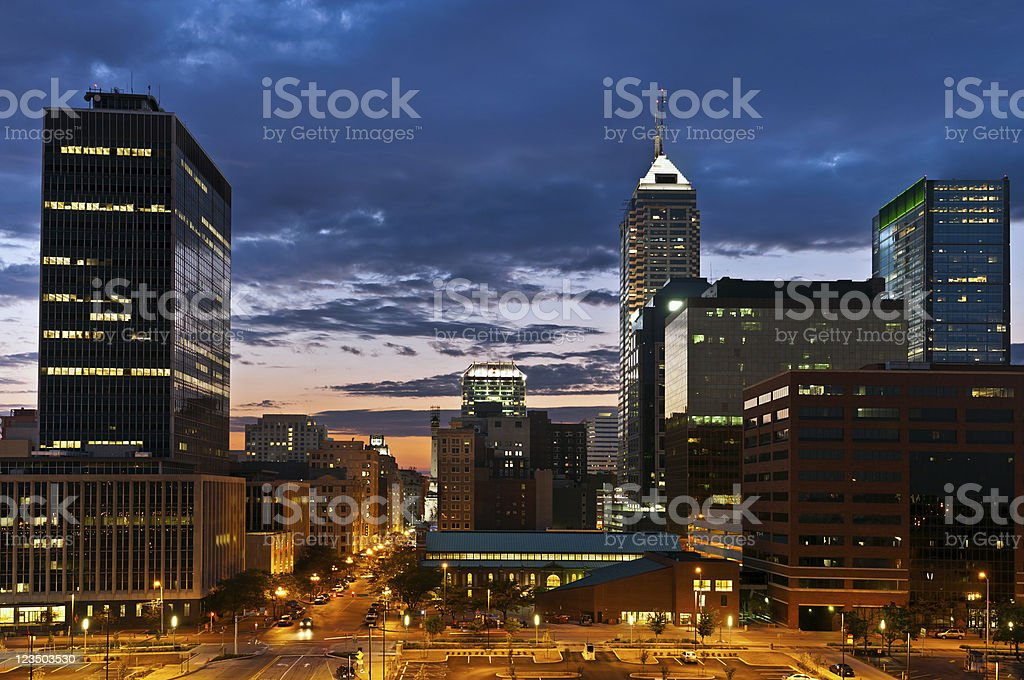 Indianapolis skyline at sunset. - Royalty-free Architecture Stock Photo