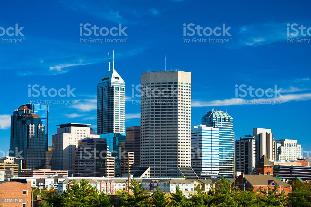 Indianapolis skyline from an elevated view, high contrast stock photo