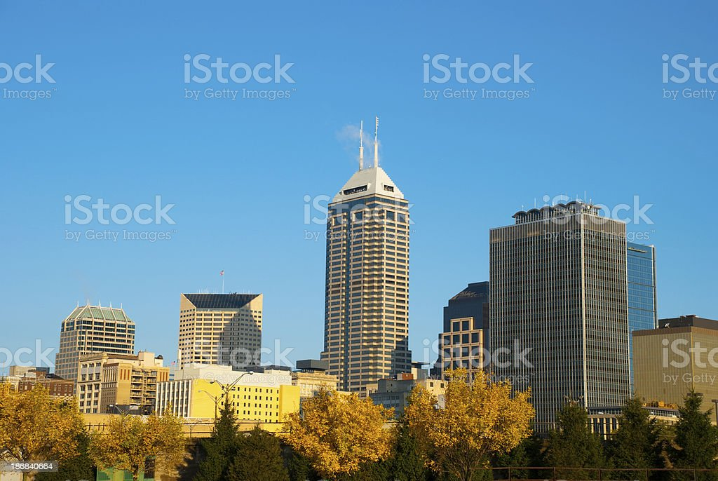 Indianapolis skyline in the early morning stock photo