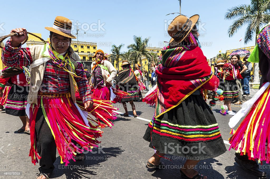 Indians in traditional peruvian dresses, Lima, Peru stock photo