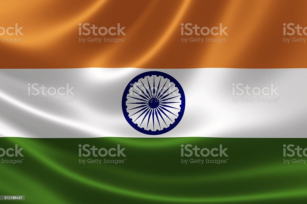 India's Flag Close Up stock photo