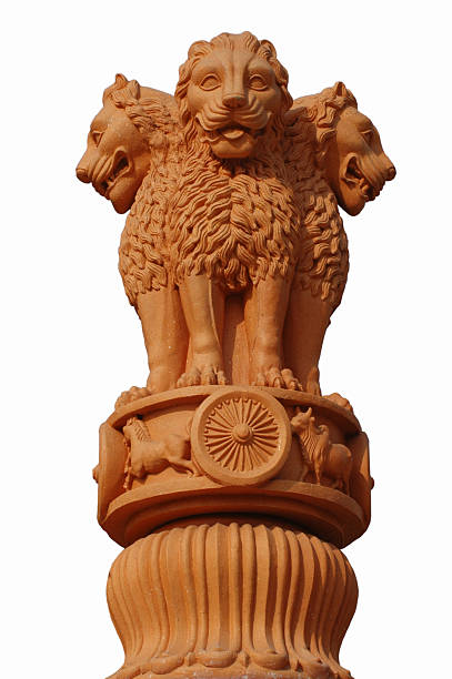India's National Emblem Triple-lion icon of the great emperor Asoka's famous pillar (also called the Lion capital of Asoka) has been adopted as modern India's state symbol. Asoka, the Great, mounted the throne in 273 B.C. He ruled the entire India except the extreme South. His edicts carved upon rocks and pillars are found all over India. insignia stock pictures, royalty-free photos & images