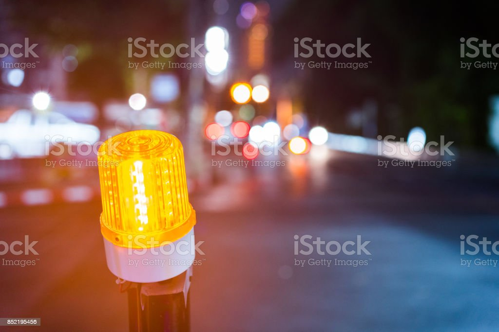 Indicator light of construction zone. stock photo