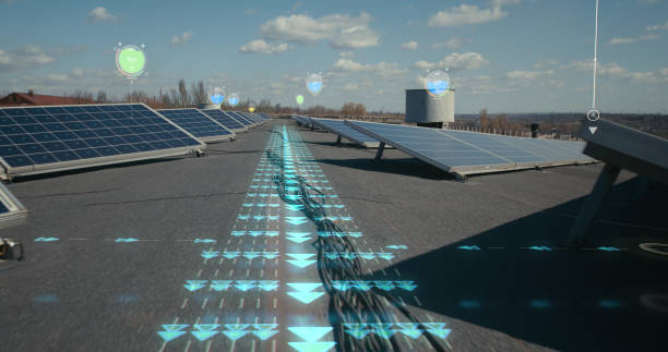 Indicators seen over solar panels and wires Long shot of holographic indicators showing efficiency levels on rows of solar panel on rooftop augmented reality sustainable stock pictures, royalty-free photos & images